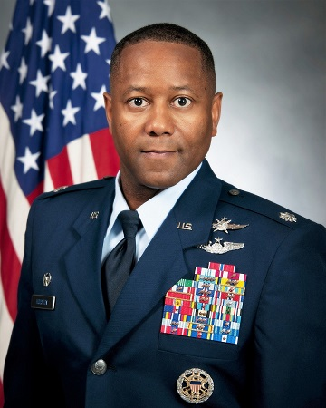 Lt. Col. Clarence Houston Jr. official photo with American flag background