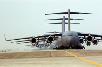 C17s parked on the flightline